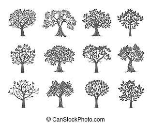 樹。, 矢量, illustration., 彙整