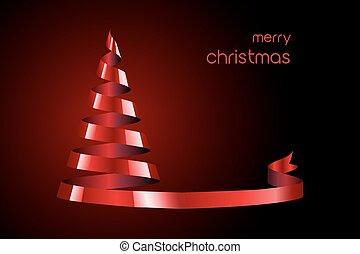 樹, 紅的緞帶, 聖誕節