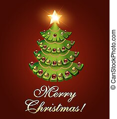 樹, 背景, 聖誕節, 燃燒, 明信片, 星