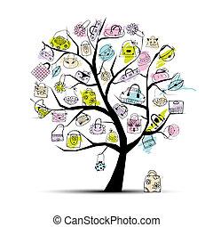 樹, 購物, 你, 袋子, 設計