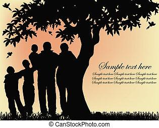 樹, 黑色半面畫像, 人們