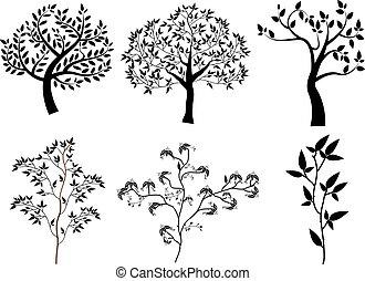 樹, 黑色半面畫像, 矢量, 集合