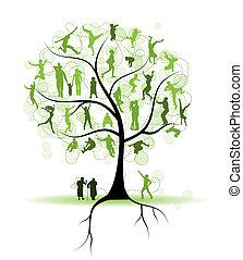 樹, 黑色半面畫像, 親戚, 家庭, 人們