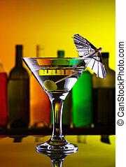 橄欖, coctail, 傘, 酒吧