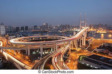 橋梁, 上海, 瓷器, night., nanpu