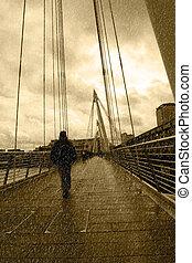 橋梁, 倫敦, 城市, 下雨