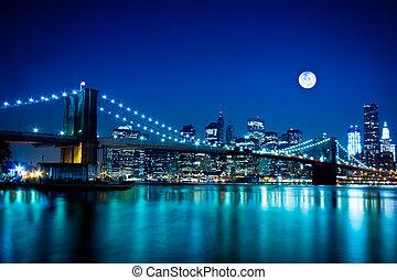 橋梁, 布魯克林, 城市, 約克, 新