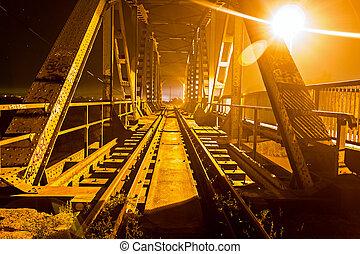 橋梁, 照明, night., 光