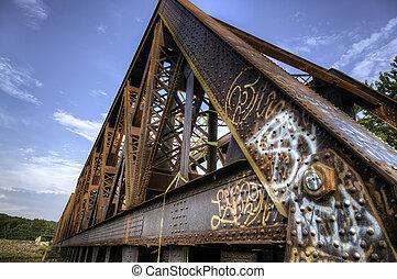 橋梁, 生鏽, 訓練, 老, graffiti