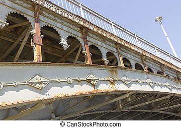 橋梁, 老, 非常, 細節, 鐵, 裝飾, 鉚釘