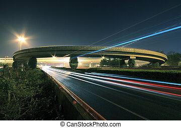 橋梁, 高速公路, 夜晚