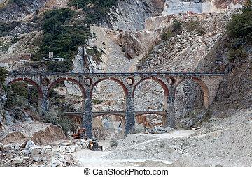橋梁, carrara, apuan, 采石場, 白色, excavators., 大理石, tusc