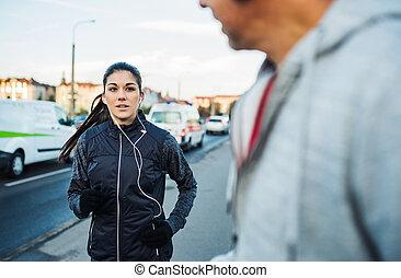 橋梁, city., 适合, 賽跑的人, 布拉格, 年輕, 跑, 女性, 在戶外
