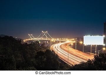 橋梁, xiamen, haicang, 夜晚