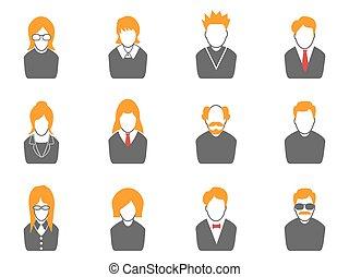 橙, avatar, 系列, 簡單的圖象