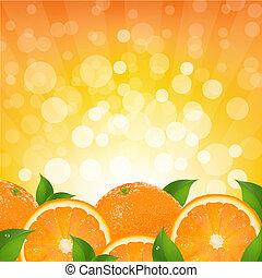 橙, sunburst, 背景