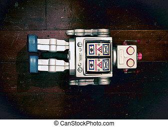 機器人, retro, 老, 躺, 銀, 玩具, 木制