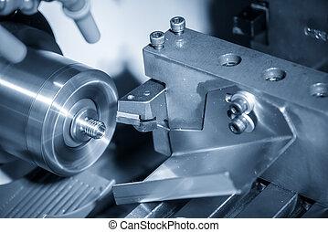 機器, 切, 轉動, 線, cnc, 制造, 車床, process., shaft., 或者, hi-technology, 金屬