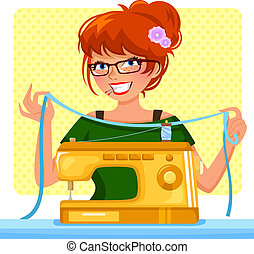 機器, 女孩, 縫紉