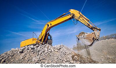 機器, 建築工地, 挖掘機, loader