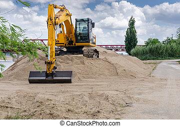機器, 挖掘機, loader, 站點。, 建設, 在戶外, 在期間, 工作, earthmoving