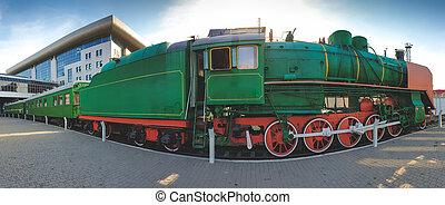 機車, 全景, 圖像, 鐵路, 帶上某种調子, 車站, 蒸汽, 葡萄酒