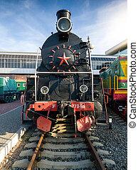 機車, 圖像, 鐵路, 老, 車站, 蒸汽, 黑色