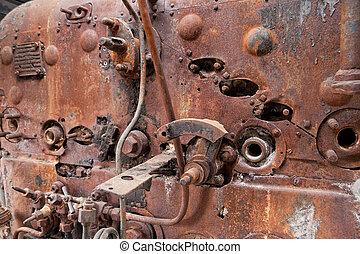機車, 生鏽, 老, 鍋爐, 蒸汽