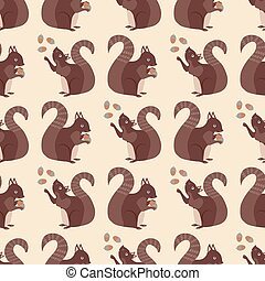 橡子, 現代, 動物, 森林地, 在上方, 紅色, 全部, 背景。, 漂亮, design., 奶油, 藏品, 畫, 手, 中立, 顏色, 松鼠, 布朗, 印刷品, 森林, 堅果, 圖案, 野生動物, seamless, 背景。, 玩戲法