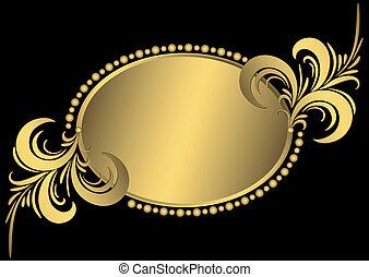 橢圓形, 黃金, 框架, 葡萄酒