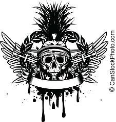 橫渡, 鋼盔, 劍, 頭骨