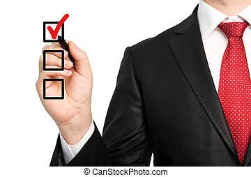 檢查, 做, 被隔离, 寫, 馬克, 鋼筆, 商人, 藏品, 衣服, 領帶, 選擇, 或者, 紅色