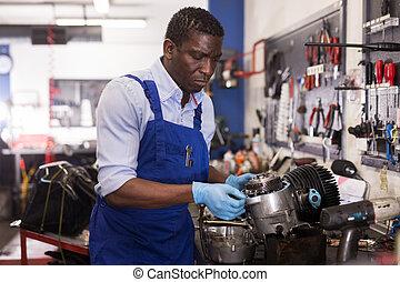 檢查, 美國人, 摩托車, 工人, 引擎, afro, 套衣