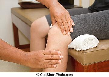 檢查, 膝蓋, 醫生, 聯接