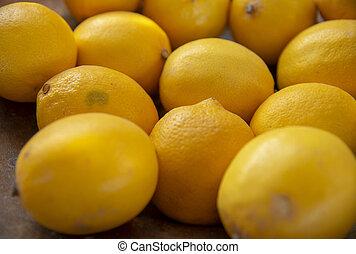 檸檬, side., 水果, 焦點。, 選擇性, 邊, 黃色, 背景。, 堆積