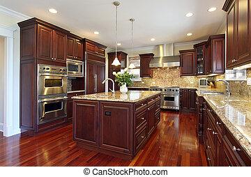 櫻桃, 木頭, cabinetry, 廚房