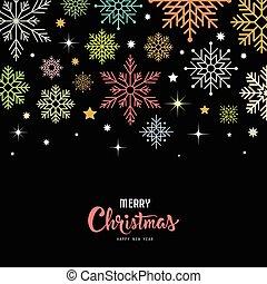 歡樂, 矢量, 雪花, 鮮艷, 聖誕節