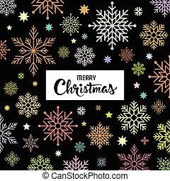 歡樂, 雪花, 鮮艷, 背景, 聖誕節