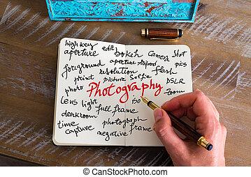 正文, 攝影, 手寫
