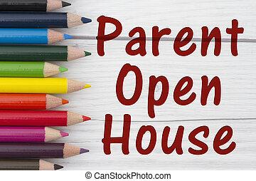 正文, 父母, 房子, 粉筆, 打開, 鉛筆