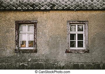 正面, windows, 老, 灰色, 木制房子