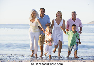 步行, 延長, 海灘, 家庭