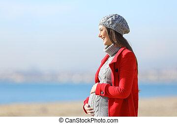 步行, 拿, 婦女, 海灘, 怀孕