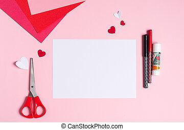 步驟, 指示, 1., step., valentine卡片, diy, 問候