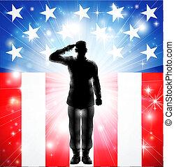 武裝, 我們, 敬禮, 力量, 旗, 軍事, 士兵, 黑色半面畫像