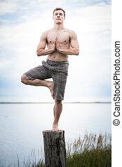 殘干, 瑜伽, 年輕 成人, 自然
