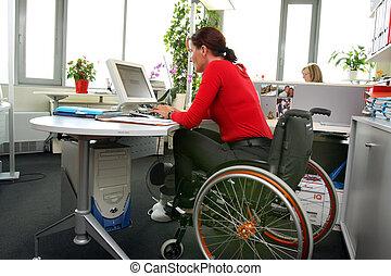殘疾的女人, wheelchair.