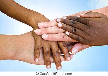 比賽, 人類, hands., 加入