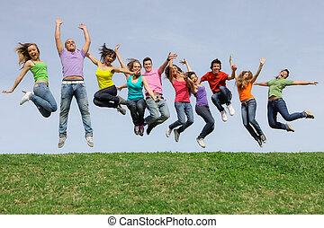 比賽, 組, 跳躍, 多种多樣, 混合, 微笑高興