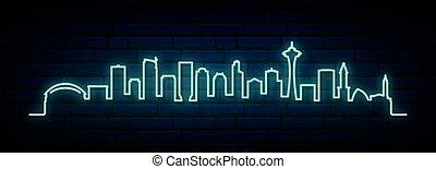 氖, seattle, 藍色, 地平線, city.